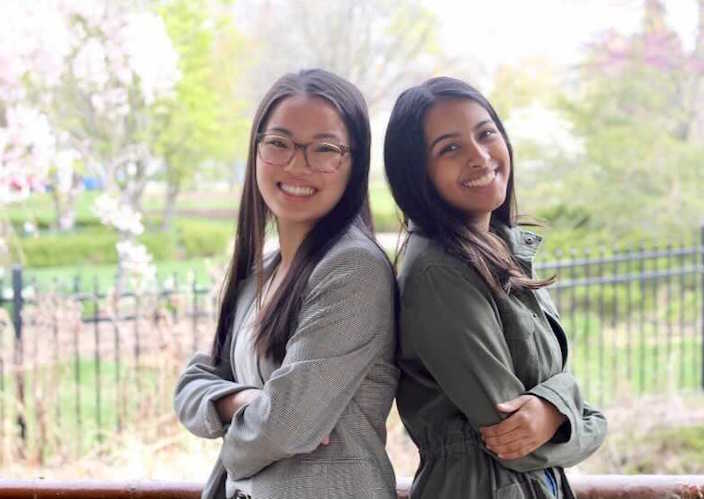 Isabel LoDuca, left, and Devishi Jha in Valparaiso, Indiana in April 2021.