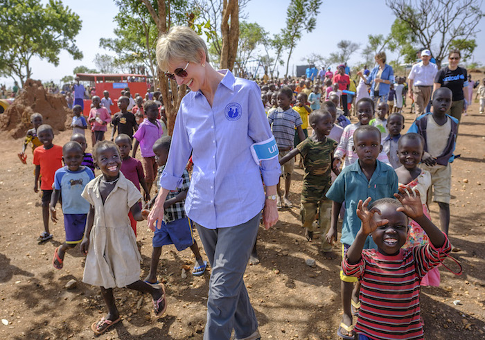 Sister Jean Bingham of LDS Charities gets a warm welcome at a UNICEF-supported ECD center in Bidi Bidi settlement, Uganda.