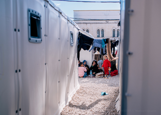 Children playing at a refugee camp in Greece.