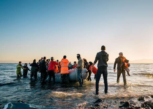 Refugees arriving on the shores of Greece.