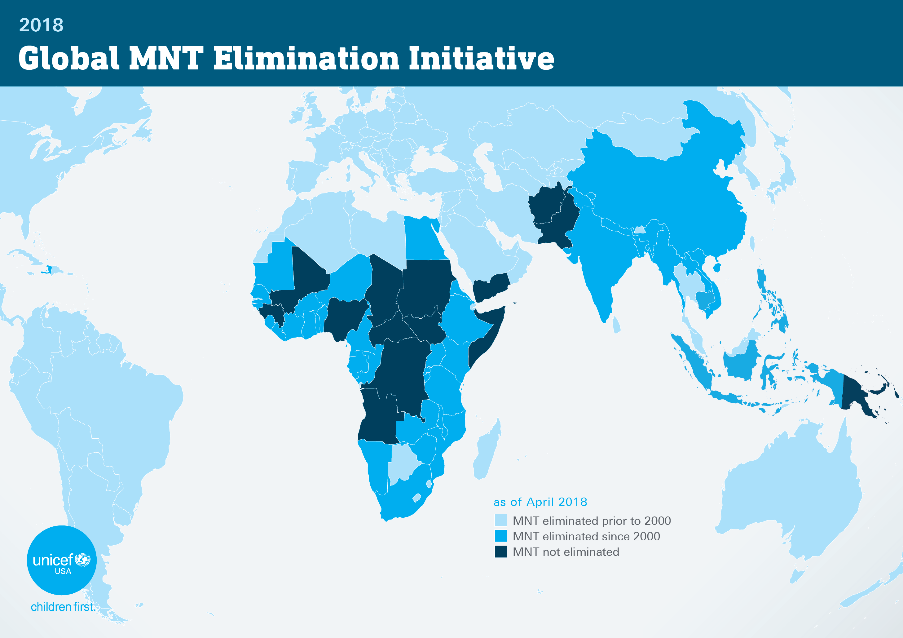World map of countries where maternal and neonatal tetanus still hasn't been eliminated.