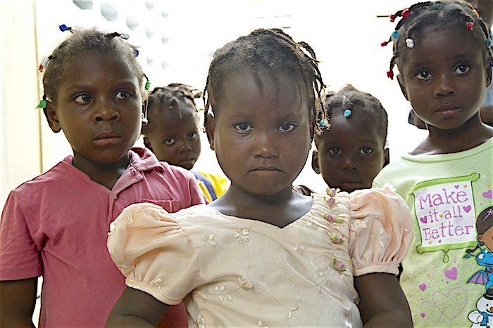 Girls at an orphanage school during UNICEF Haiti's education team post-storm assessment in the La Plaine area of Port au Prince, Haiti.