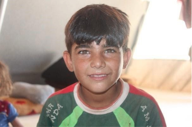 Majd, 9, will benefit from the self-learning program for out-of-school kids UNICEF is launching at the Amal camp in northwest Syria.