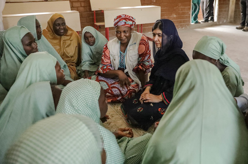 Education activist Malala meets with students in the Yerwa Government Girls school in Maiduguri, Nigeria.