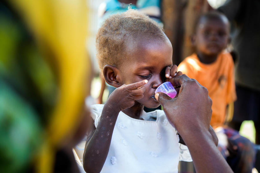 Diagnosed with severe acute malnutrition, two-year-old Maria was treated at a UNICEF-supported health center in Juba, South Sudan in October 2017.