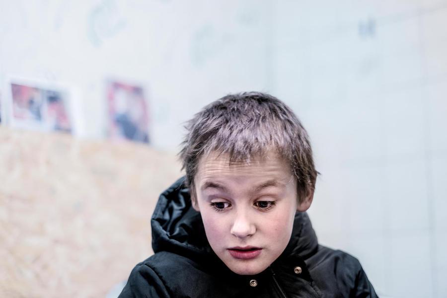Misha, 9, had shrapnel removed from his brain in 2016 in eastern Ukraine.