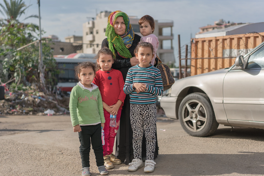 A Syrian refugee family in Lebanon in December 2017.