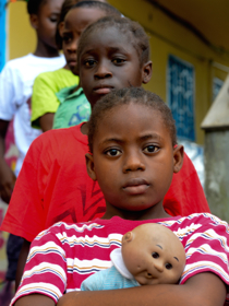 Liberian children in an interim care center