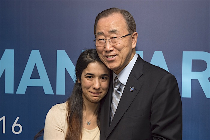 U.N. Secretary-General Ban Ki-moon (right) meets with Nadia Murad Basee Taha, a young Iraqi woman of the Yazidi faith, human rights activist and survivor of abduction and torture by the terrorist group Islamic State.