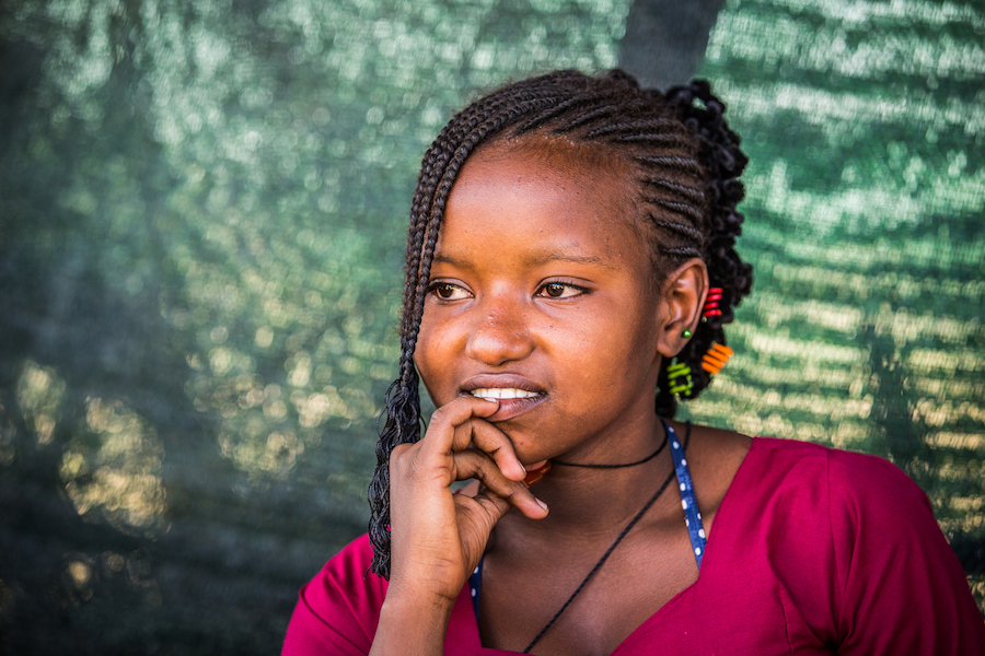 Aydoudate, 15, lives in the UNICEF-supported Mangaize refugee camp in Niger. Many girls marry young in her community, but she plans to finish her education first.