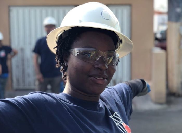 Oneika Pryce, 19, a student at City College of New York, is one of the student volunteers who went to Puerto Rico in June 2018 to helping families rebuild as part of a UNICEF USA supported effort.