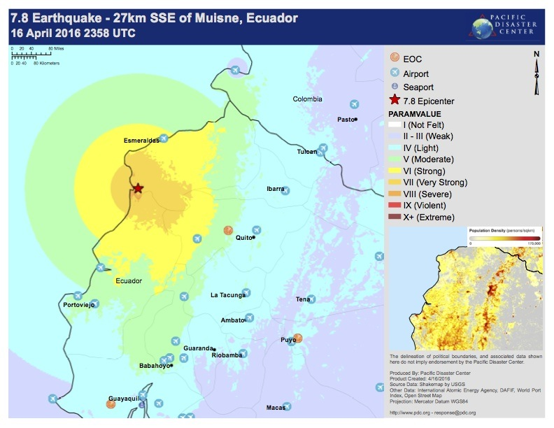 7.8 Earthquake - 27 km sse of Musine, Ecuador