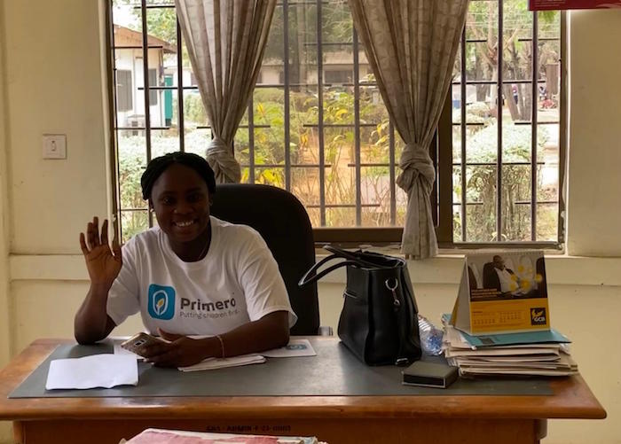 A social worker in Ghana's Ga West Municipality, where UNICEF's Primero online data management toll is revolutionizing child protection.