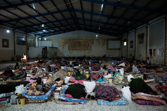 Detention center in Libya, where child migrants are detained.