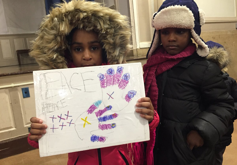 Students from Brooklyn prepare for their annual peace walk to raise money for UNICEF's K.I.N.D. Fund.