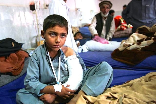 A photo, taken by UNICEF, of a boy recovering in Lady Reading Hospital in Peshawar, Pakistan in the aftermath of Monday's 7.5 magnitude earthquake