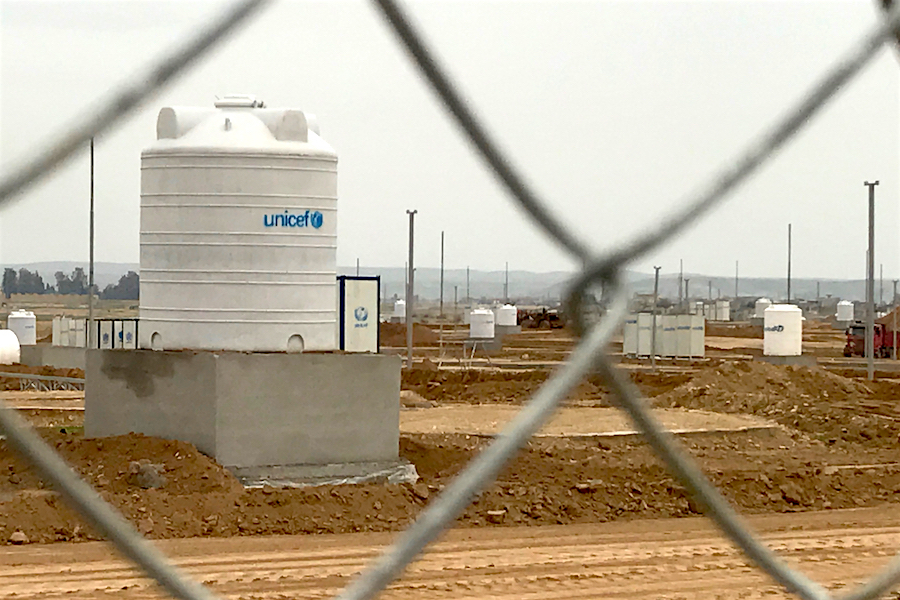 A UNICEF water tank in eastern Mosul, Iraq.