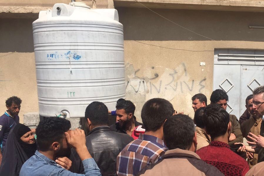 A UNICEF-provided water tank in eastern Mosul, Iraq.