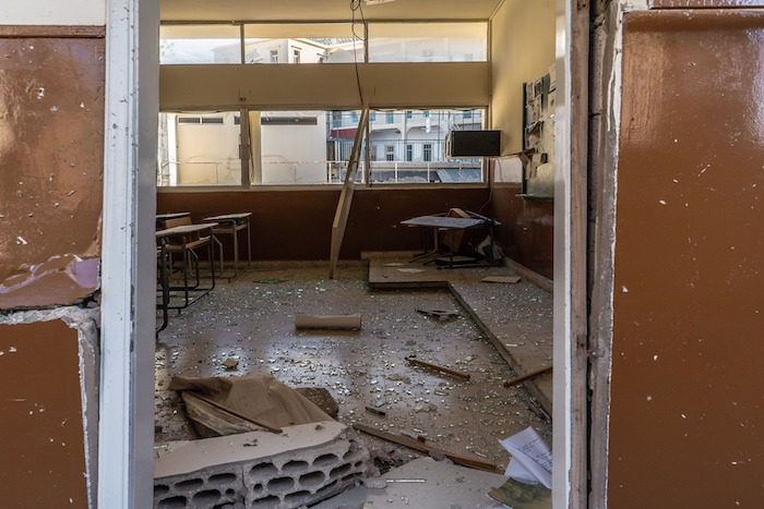 A school in Beirut's Ashrafieh neighborhood, one of the 120 damaged in the massive Aug. 4 blast.