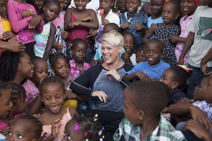 UNICEF Ambassador, Kid Power National Spokesperson and Grammy Award winner, P!NK, during a UNICEF field trip to Haiti
