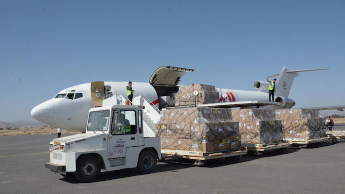 On November 25, 2017, a UNICEF-chartered plane delivered a shipment of vaccines to Yemen's Sana'a international airport.