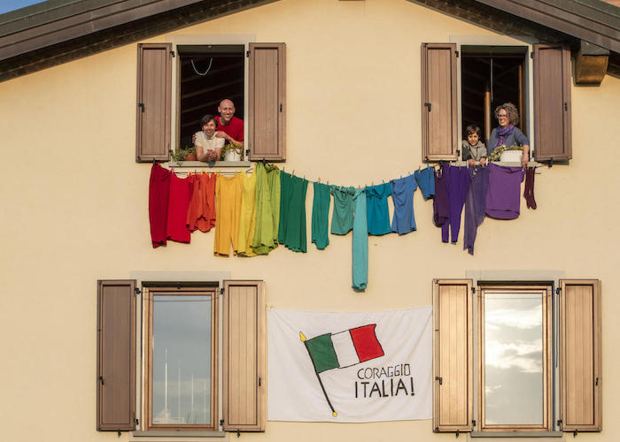 In March 2020 during Italy's COVID-19 shutdown, a family in Bergamo made a rainbow out of clothes to send a message of support to their neighbors.