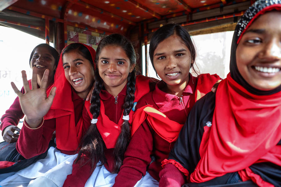 In the village of Berhabad in Jharkhand state, India, girls who have spoken out against child marriage are given a ride to school to protect them from being harassed by boys and men.