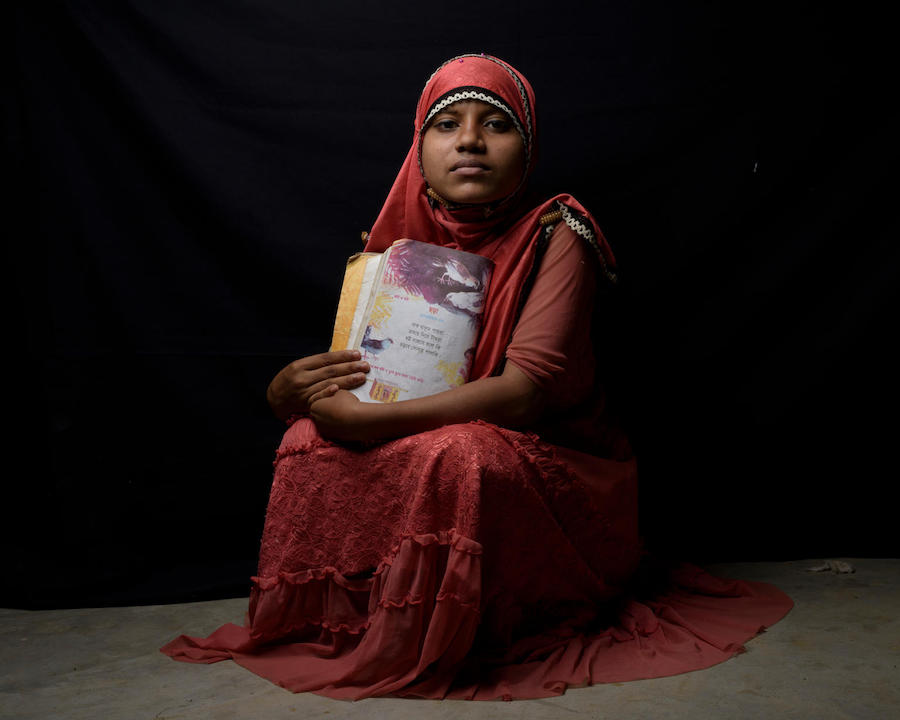 Rohingya refugee Tasmin, 14, in Kutupalong refugee camp in Cox's Bazar District, Bangladesh, March 2018.