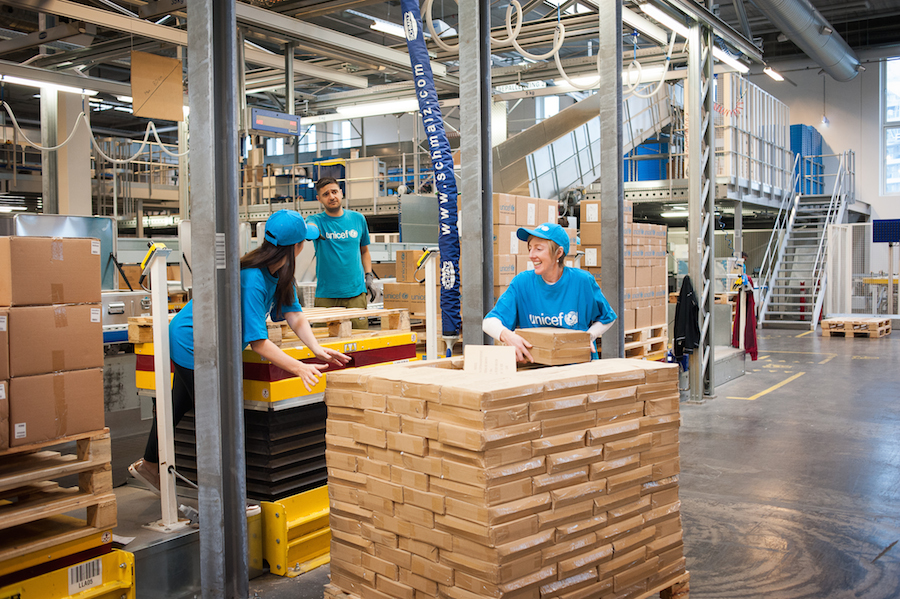 UNICEF delegates from six countries get hands on experience during a visit to the Copenhagen supply warehouse in September 2018.