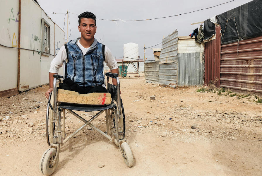 Syrian refugee Sami, 14, lost his legs in a bomb blast that killed his cousins in Dera'a, Syria. For the past four years, he has been living in Za'atari refugee camp in Jordan.