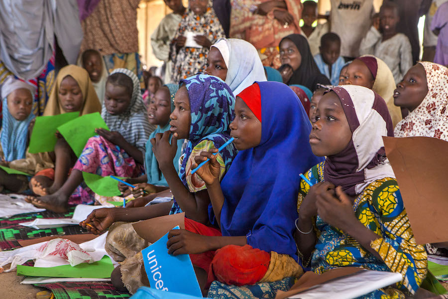 Class is in session at a UNICEF-supported safe space for children in a camp for internally displaced people in Maiduguri, Nigeria.