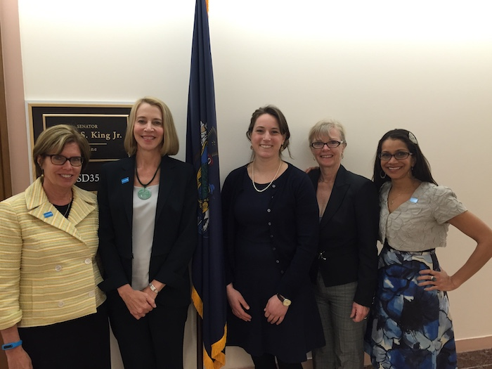From left: UNICEF USA New England Regional Board members Sharon Malt and Susan Littlefield, Aide to Senator King, New England Regional Board members Willow Shire and Gitika Marathay Desai.