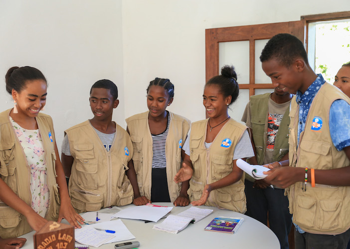 Members of the UNICEF-supported Junior Reporters Club in Taolagnaro, Madagascar write and perform radio skits about issues that are important to them.