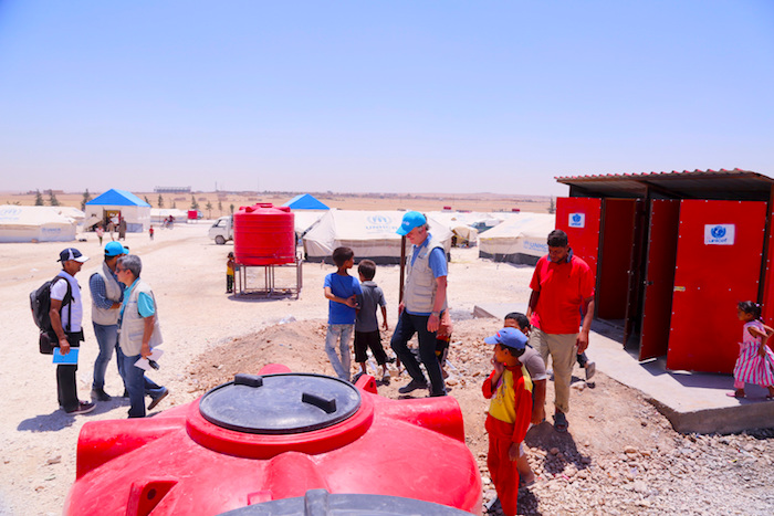 UNICEF installed water storage tanks, toilets and showers at Ain Issa refugee camp in northeastern Syria.