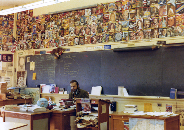 Here is my father, history teacher Tom Ferguson, in his classroom at Oak Park River Forest High School. He said he tried to make his lectures more interesting than the walls of the classroom, which were covered in historical artifacts.