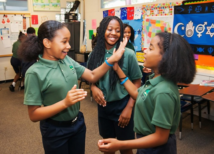UNICEF Kid Power enables student activists to provide humanitarian relief that fights childhood malnutrition. Destiny, Ja'Nay and Tatyanna, middle schoolers at Academy Prep Center of St. Petersburg, Florida.
