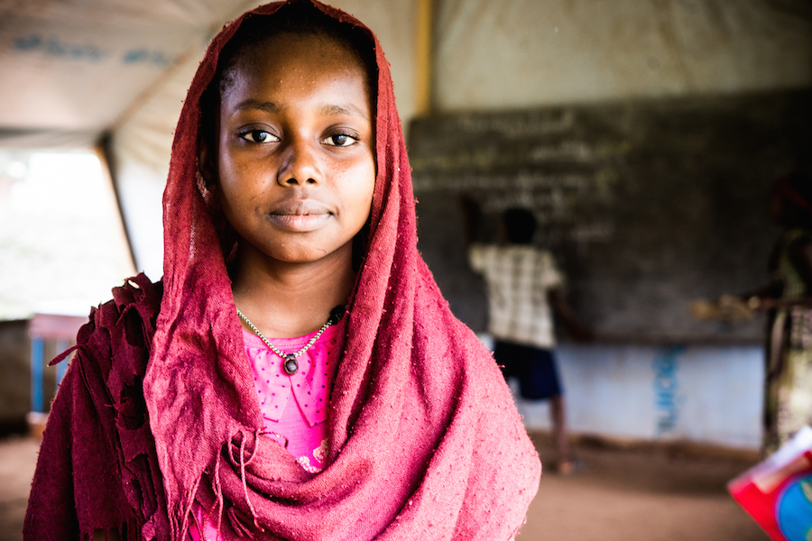 Faozea, 14, is a refugee from the Central African Republic living in Chad, where she attends school with UNICEF's support.