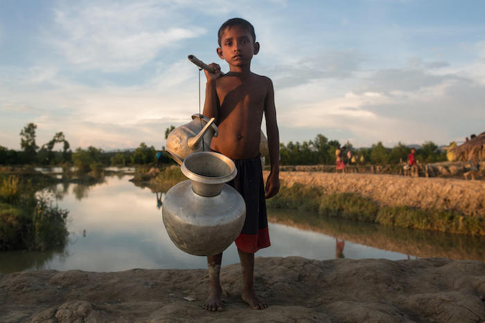 Mohammed, 10, is one of hundreds of thousands of Rohingya refugees living in a camp in Cox's Bazar, Bangladesh, where UNICEF works with partners to ensure access to safe water amid challenging conditions.