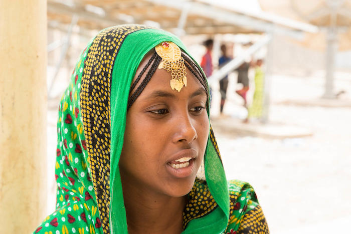Buruale, 13, from Erubti Woredo in Ethiopia's Afar Regional State, visits households in her neighborhood to teach her community about the side effects of female genital mutilation.