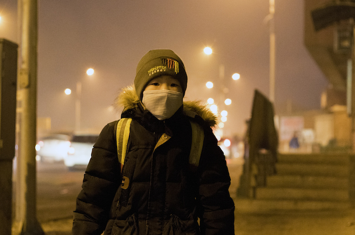 A young boy in Ulaanbaatar, Mongolia, where air pollution levels are dangerously high.