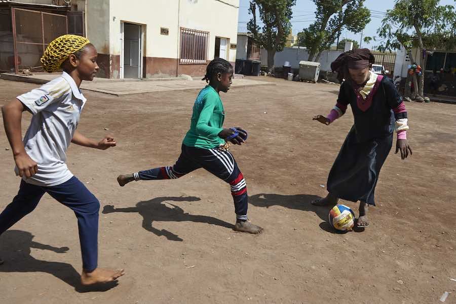 Girls, play soccer at the LEC center of Boulaos in the city of Djibouti, where roughly 300 primary school children, including children with disabilities, can take classes and play sports. The center gives children who are missing out on formal education d