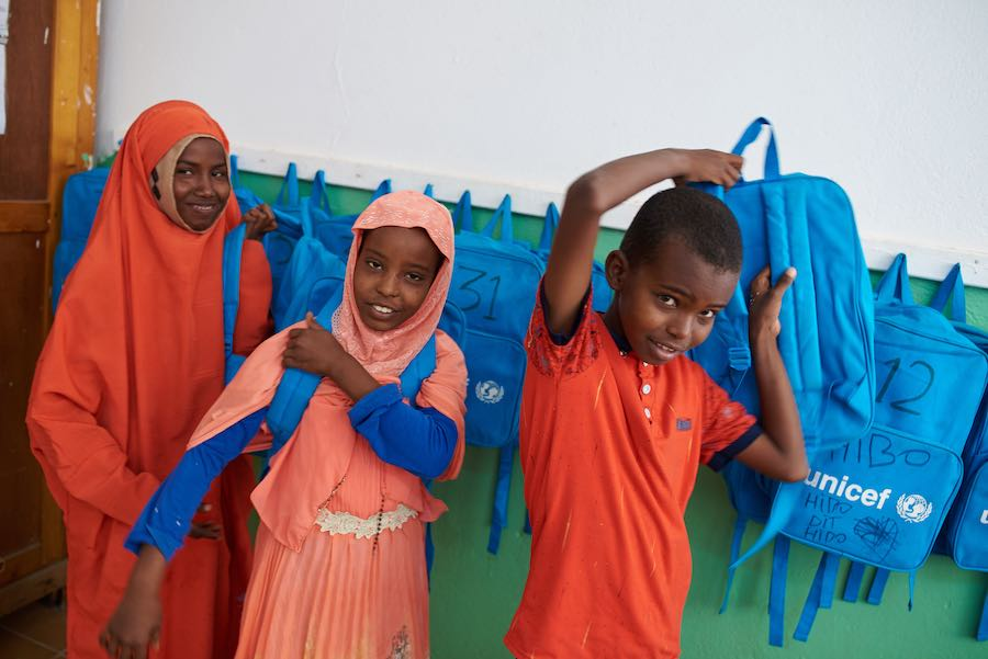 In Djibouti, a country of 1 million that hosts over 20,000 refugees, kids with special needs, children — especially girls —  from nomadic and rural communities and migrant and refugee children face obstacles to going school.   The children above are grabb