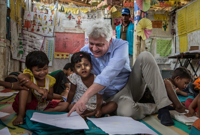 On 6 June 2018 in Bangladesh, UNICEF Bangladesh Representative Eduard Curé visits a Child Friendly Space in Kutupalong refuge camp extension for Rohingya refugees in Cox's Bazar district.