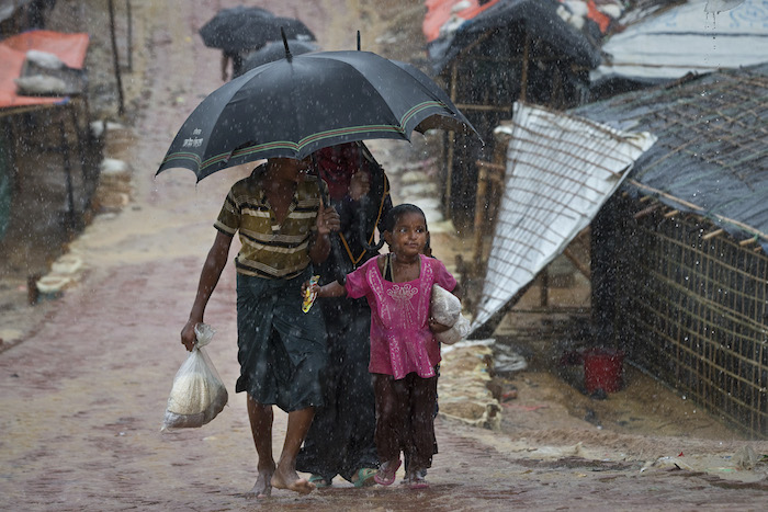 Monsoon rains threaten to worsen conditions in Cox's Bazar, Bangladesh, now home to 800,000 Rohingya refugees.