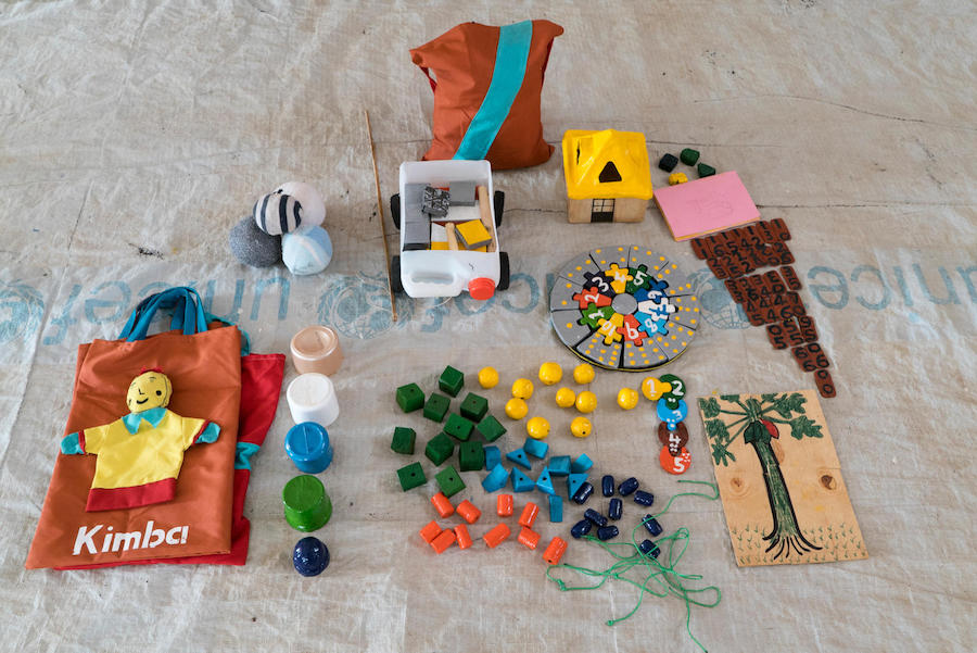 A kit of educational toys made by South Sudanese with low-cost materials thanks to UNICEF training.