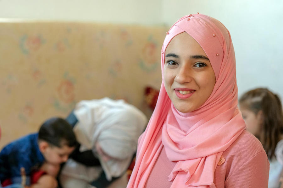The Syrian civil war forced 14-year-old Dareen and her family out of their home in Damascus, Syria. Now they live in Mafraq, a large refugee-hosting city in Jordan, with assistance from UNICEF's Hajati program.