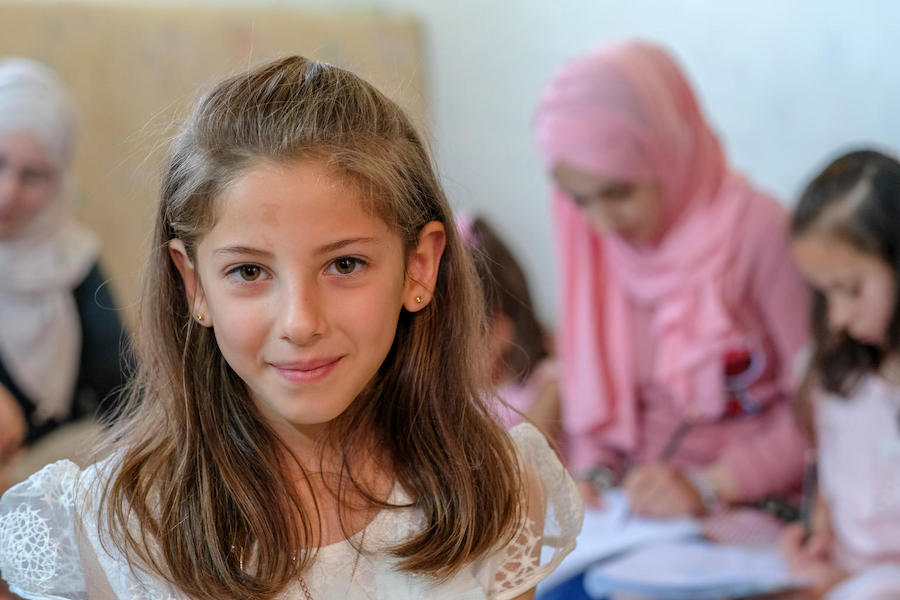 7-year-old Dana, a Syrian refugee living with her family in Jordan, is in the 4th grade at a UNICEF-supported shcool in Mafraq.