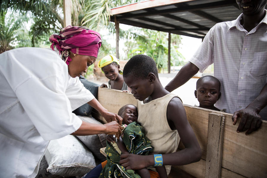 On 21 May 2018, two UNICEF-supported nurses spend a day vaccinating children in the village of Salanga in the Central African Republic.