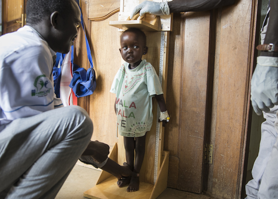 Afra, 2, gets a check up at a UNICEF-supported hospital in Juba, South Sudan where she is being treated for malnutrition.