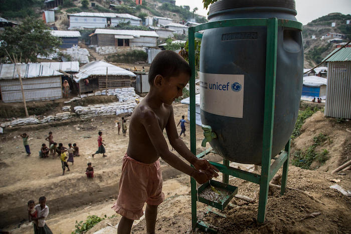 Rohingya refugees rely on UNICEF to provide clean, safe water and sanitation services in Unchprang refugee camp, Cox's Bazar district, Bangladesh.